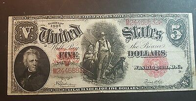 1907 $ 5 United States Note ( Wood Chipper ) Large Note Very Rare / Vg Cond.