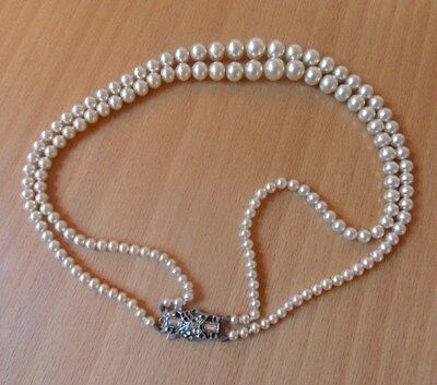"VINTAGE 2 ROW SIMULATED PEARL NECKLACE WITH STERLING SILVER CLASP-CIRCA 1950""s"