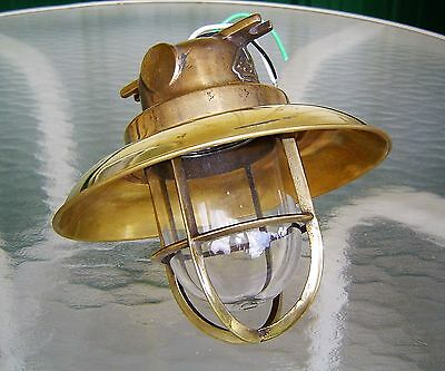 Vintage Brass Nautical Ship Ceiling Light With Rain Cover - Rewired (Lot B)