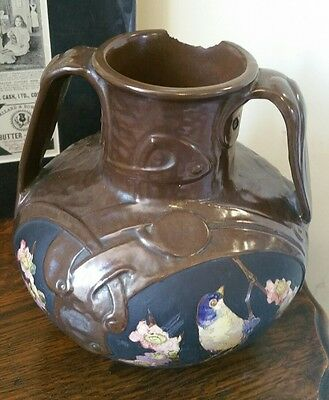 BRETBY Twin Handled Art Nouveau Pottery Vase Stamped 1887 Handpainted Birds A/F