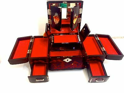 Mid century large vintage Japanese red gold and black lacquer jewellery box.