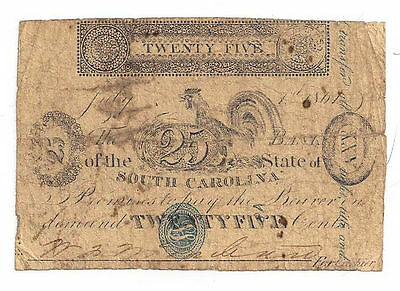 1861 The Bank of the State of South Carolina - Twenty Five Cent Obsolete Note