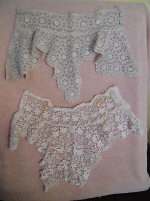 2 Antique Edwardian Dress High neck Lace Collars  White lace and net