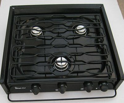 New Old Stock - Black  Magic Chef Cooktop   3   Burner  Propane Gas