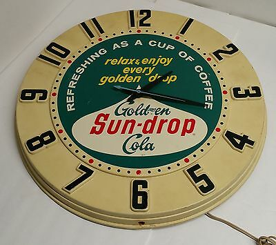 "1950's Golden Girl Sun Drop Cola 20"" Plastic Electric Advertising Clock"