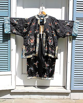 Antique Chinese Silk Embroidered Robe, Matching Pants, early 20th Century