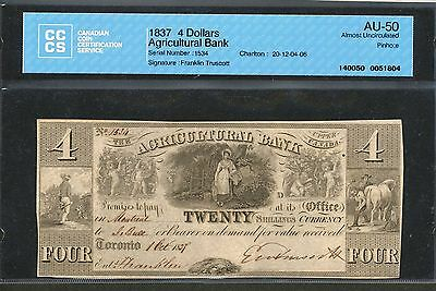 1837 Agricultural Bank $4 CCCS AU-50. 20-12-04-06 S/N 1534. Scarce Banknote.