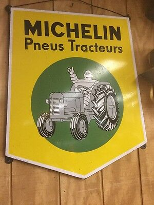 Original Vintage Michelin Tractor  Tire Porcelain Sign