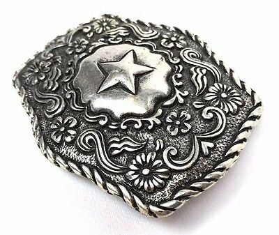 Brand New Belt Buckle Western Star Cowgirl Silver Shape Engrave Detail Rare