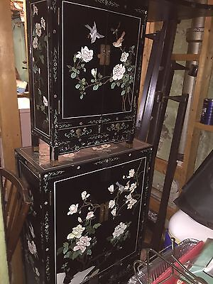 Vintage Antique Chinese Lacquer Cabinet Set