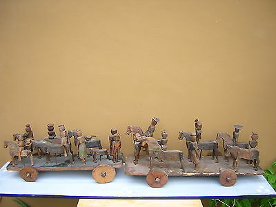 Very Rare Antique Hand Carved Wood Folk Art Figures. 2 Groups. 17 Figures!