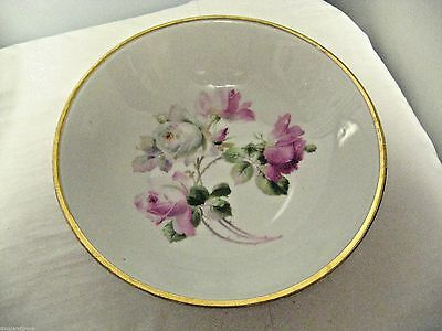 """Older Germany marked Large 9"""" Fruit, console, serving Bowl-Pink/White Roses"""