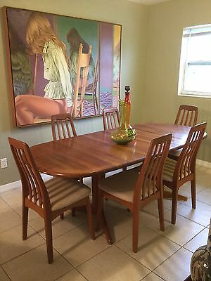6 Chairs / Table Mid Century Modern Teak Dining Set by Benny Linden, Danish