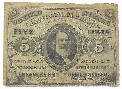 """5 Cent Third Issue Fractional Currency with """"a"""" - FR-1239"""