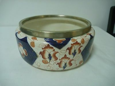 Antique Royal Staffordshire Bowl W W Co,  Cobalt Blue Iron Red Bowl EPNS collar