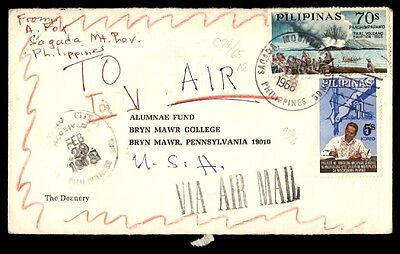 February 19th 1968 Philippines airmail cover to Pennsylvania with volcano issue