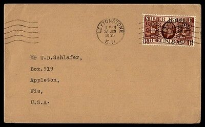 June 27, 1935 Leytonstone Silver Jubilee issue on cover to Appleton Wisconsin