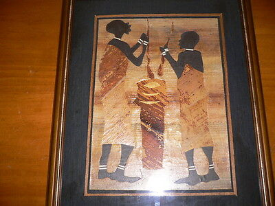 African Painting  Framed Under Glass( Made With Banana Leaves)