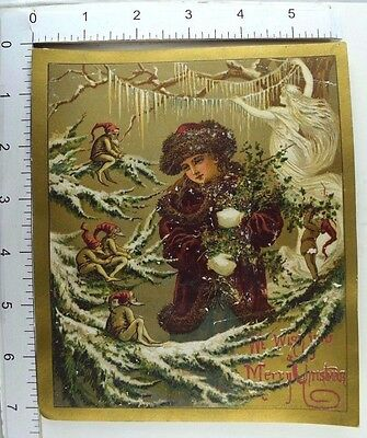 Large Victorian Christmas Trade Card Tint Elves Angel Tree Child Holly Nice! *B