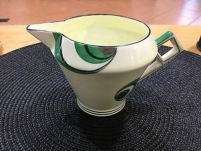 Foley Art  Deco Bone China Milk Jug Graphic Black Green 1930V262 Rare Beauty