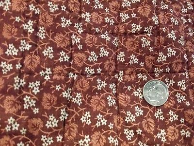 "Antique 19thc Fabric Madder Brown Tiny Star Florals 22"" x 15"" Piece"