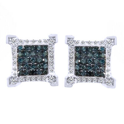 10k Wg Ice Cube Diamond 8mm Blue/white Earrings .28 Ct Fine Jewelry