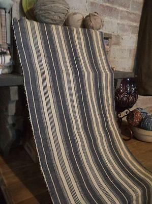 "Antique Ticking Indigo Blue Wide Stripe Primitive 14.5"" x 30"""