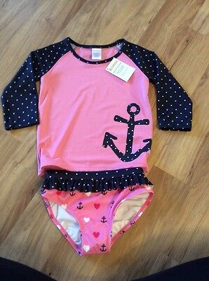 Nwt Girls Anchor Heart Pink gymboree 2 Pc swimsuit Rash guard Summer  18-24 M