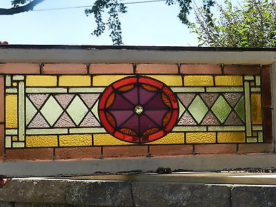 Vtg Antique Stained Glass Transom Window Gothic Spider Web Architectural Salvage
