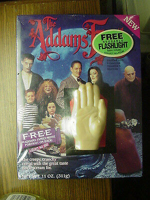 Vintage 1991 The Addams Family Cereal Box Sealed with Thing Flashlight