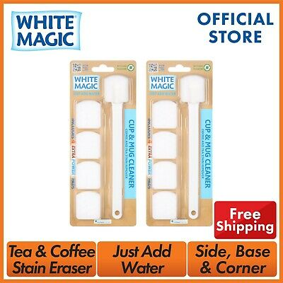White Magic Cup and Mug Cleaner w/ 5 Extra Power Pads Include - 2 Pack