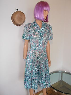 Vintage 40s 50s SHEER FLORAL DAY Party DRESS blue plum white Rockabilly 36-26 S