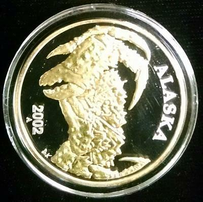 2002-A King Crab Commemorative Silver & 24k Round by Alaska Mint Silver oz(RC33)