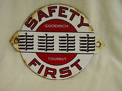 Goodrich Tourist Safety First Tire Advertising Small Porcelain Sign Tires Ad