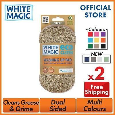 White Magic Dish Cleaning Microfibre Eco Cloth Washing Up Pad Scrubbing Wiping