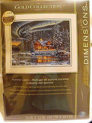 """DIMENSIONS Gold Collection  Aurora Cabin Counted Cross Stitch Kit 16"""" x 12""""  New"""