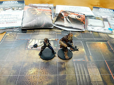 Well Painted FFG Star Wars Imperial Assault Han Solo and Chewbacca Ally Packs