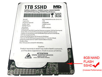"New 1TB 16MB Cache + 8NAND (7mm) 2.5"" SSHD Hybrid Gaming Hard Drive for PS4/PS3"
