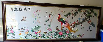 """Exquisite & Massive Framed Chinese Silk Embroidered Panel """"hundred Exotic Birds"""""""