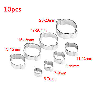 10pcs 5-23mm Hose Clamp Zinc Plated Double Ear Worm Gear For Automotive Plumbing
