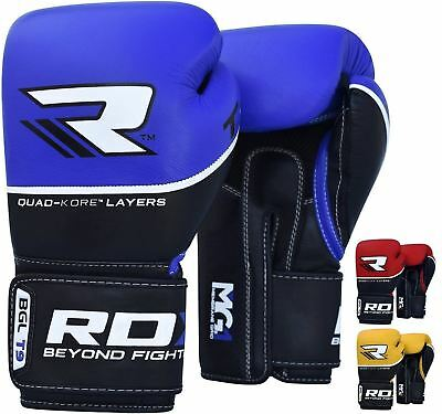 RDX Cow Hide Leather Gel Boxing Gloves Sparring Training Glove Punching Bag M...