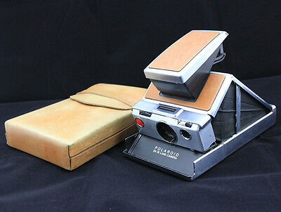 Vintage Polaroid SX-70 Land Camera Working w/ Leather Case Brown Silver