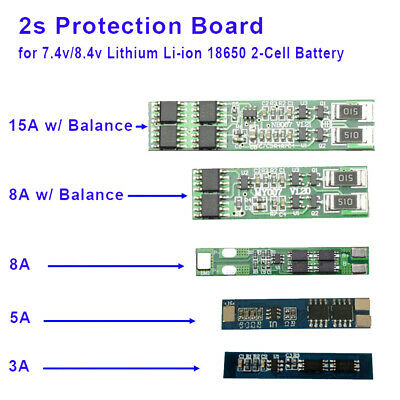 3A-15A 2S BMS PCB Protection Board for 2 Packs 18650 Li-ion Lithium Battery Cell
