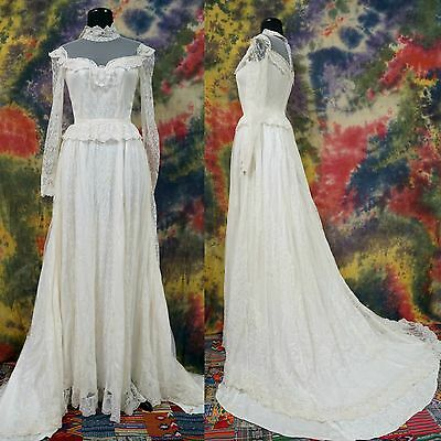 VTG 70's Ivory Lace Embroidered Victorian Collar Peplum Boho Wedding Dress S