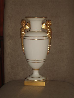 Rare Large Vintage Lenox Art Deco Ivory Vase Gold Figures & Trim Old Blue Mark