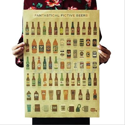 Beer Encyclopedia Of Bar Counter Adornment Kitchen Kraft Paper Vintage Poster CG