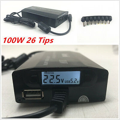 100W Universal 8Tips Car Home Charger Power Supply Adapter for Laptop Notebook
