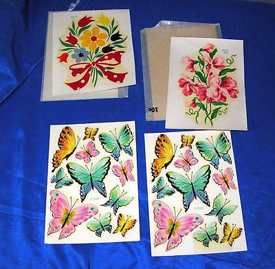 4 Unused Sheets Vtg 1950's Meyercord Decals - Flowers, Butterflies, Great Crafts