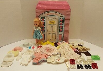 Vintage 70's Vogue Ginny Doll Lot Clothes Shoes Carry Case