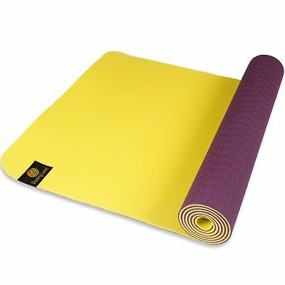 Dusky Leaf TPE Eco Yoga Mat - Purple / Yellow Plum Purple / Yuzu Yellow
